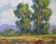 $1 AUCTION RESTFUL PLEIN AIR LANDSCAPE, 8x10 OIL ON CANVAS by Tom Brown, painting by artist Tom Brown