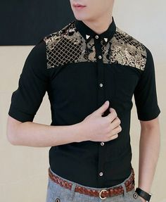 $13.36 Fashion Style Turn-down Collar Personality Leopard Print Embellished Half Sleeves Polyester Shirt For Men