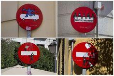 Arte 'Yipi yipi' en las señales de tráfico en Madrid - Arte 'Yipi yipi' en las…