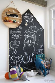 Kids' playrooms don't necessarily have to be bright and you don't have to spend a fortune on them. This chalkboard wall is as much a feature as it is a practical art space. Kids Corner, Deco Kids, Kids Decor, Home Decor, Baby Decor, Decor Ideas, Modern Kids, Kid Spaces, Girls Bedroom