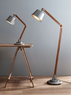 The Beacon Lighting Nuvo 1 light adjustable floor lamp in metal with walnut wood Adjustable floor la Diy Floor Lamp, Wooden Floor Lamps, Room Lamp, Desk Lamp, Lamp Table, Wall Lamps, Bed Room, Retro Lampe, Beacon Lighting