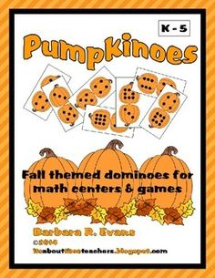 Pumpkinoe = holiday neutral, fall themed dominoes.   8 games are ready for your math centers. $ #pumpkinmath #dominoes
