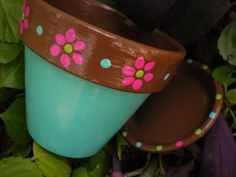 Painted Flower Pots  Four Inch  Set of 5  by HappyMooseGardenArt - Perfect for window sill herb planters!