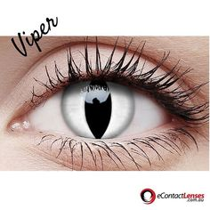 Viper's are a venomous snake with a special heat sensing system to hunt their prey. Unleash your wild side! #crazylens #colouredcontacts #costume #dressup
