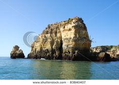 Yellow cliffs in Lagos in the Algarve Portugal