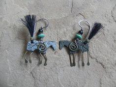 Cave Horses Pewter Red Brass Variscite Onyx Sterling Earrings Marcia Q. Miller #QMiller