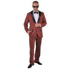 Dit kostuum met Schotse ruit voor heren bestaat uit een broek en colbert jasje. Materiaal: 100% polyester.
