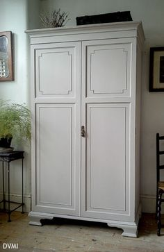 Lovely Hand Painted Antique Shabby Chic Wardrobe Armoire Farrow & Ball | eBay