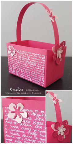 petit panier avec la planche insta pochette Stampin'up. framelits Paysagiste. papier design. en rose melon mambo. par Roseline http://roseline-scrap.over-blog.com