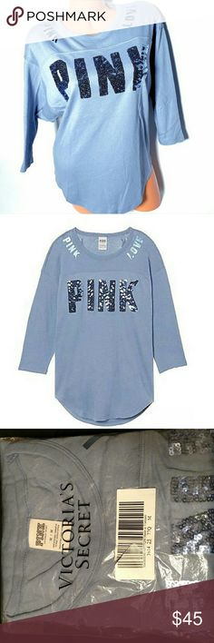 """NWT *VS* Oversized Blue Bling Campus Tee (Size L) Beautiful football style campus tee.  New in the Bag from VS - Size M but could for a L or an XL d/t being oversized & stretchy. Measurements: 20"""" waist lying flat without any stretching, 12"""" flat widest sleeve part  3/4 sleeves with round cut bottom hemline.  All of my items are checked to the best of my ability. If there is any issue, please contact me & let me. I want you to LOVE your item & of course check back for other new closet…"""