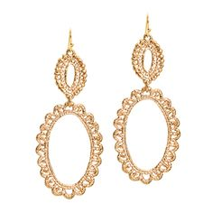 Jocelyn Earrings  Romance is in the air with these Jocelyn drop earrings. Graduated open ovals have scalloped edges.