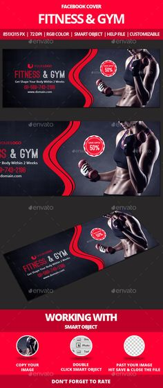 Fitness & Gym Facebook Cover Tempalte #design Download: http://graphicriver.net/item/fitness-gym-facebook-cover/12874927?ref=ksioks