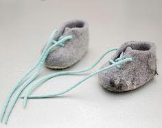 Niño fieltro botines oscuro gris botines botines de por MusiuMuse