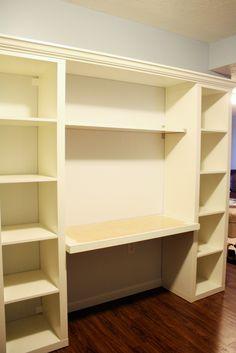 I like this idea of a studio desk built with IKEA shelves, desk wider than bookshelves, and beadboard in back. Ikea Closet, Closet Bedroom, Ikea Hacks, Desk Organization Ikea, Ikea Desk, Billy Ikea Hack, Bookshelf Desk, Organizing Bookshelves, Ikea Shelves