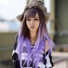 brown hair with pastel purple tipped hair and front bangs