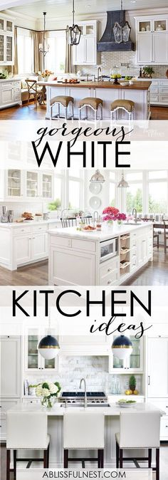 These gorgeous white kitchen ideas range from modern to farmhouse and all in between. Get great ideas on white kitchens with all these home…