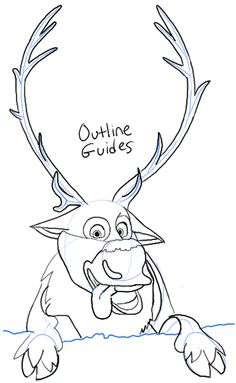frozen drawings Step sven from frozen How to Draw Sven the Reindeer from Frozen Step by Step Tutorial- could just have head and legs Sven Frozen, Frozen Cake, Elsa Drawing, Painting & Drawing, Disney Sketches, Disney Drawings, You Draw, Learn To Draw, Reindeer Drawing