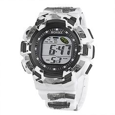 HONHX Mens LED Camouflage Digital Alarm Date Multifunctional Round Dial Sport Wrist WatchBlack -- Click on the image for additional details.Note:It is affiliate link to Amazon.