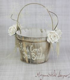 Here Comes The Bride Flower Girl Basket Rustic Country Wedding (Item Number 130096). $45.50, via Etsy.