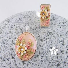 Handmade SET of ring and pendant pink-gold floral by Filigrina
