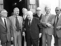 Dad's Army's (L-R) Clive Dunn, Bill Pertwee, writer Jimmy Perry, Arnold Ridley, Frank Williams, Ian Lavender and John Le Mesurier