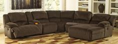 Toletta 56701SEC6R 6-Piece Sectional Sofa with Right Arm Facing Press Back Chaise, Armless Chair, Wedge, Zero Wall Armless Recliner, Console and Left Arm Facing Zero Wall Recliner in Chocolate