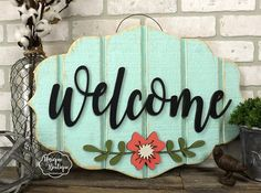 Spring Door Sign | Welcome Flower Door Hanger Robins Egg Blue Teal Coral  Painted Wood Shiplap Rustic Farmhouse Decor Door Hanging