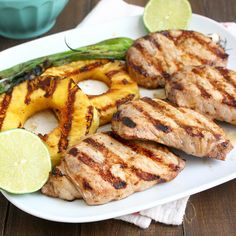 Grilled Ginger-Sesame Pork Chops with Pineapple and Scallions by Traceys Culinary Adventures