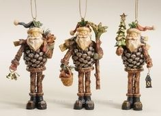 Pine cone Santa ornaments - Bodies made to look like real pine cones, legs like twigs and pine branches, and chissled white beards, each with his own theme and bundle of Christmas accessories. At 5 a Christmas Pine Cones, Real Christmas Tree, Christmas Fairy, Handmade Christmas, Christmas Crafts, Christmas Ornaments, Fall Crafts, Primitive Christmas, Country Christmas