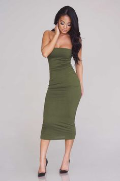 685ce16453 Front Line Army Olive Green Strapless Tube Bodycon Midi Dress