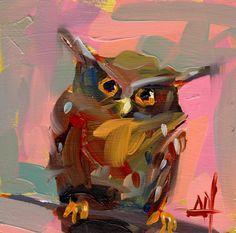 Maned Owl Art Print by Angela Moulton 8 x 8 inch