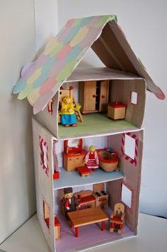 MammaViò: Casa per le bambole con le scatole da scarpe