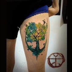 Show your greener side. | 32 Cool And Colorful Tattoos That Will Inspire You To Get Inked