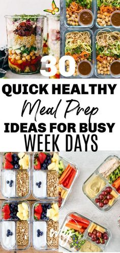 30 Healthy Meal Prep Recipes 30 Easy healthy meal prep recipes for the week when you're trying to lose weight. Includes healthy recipes for breakfast, lunch, and dinner; meal prep for the week makes it easier to stick to a clean eating health plan.<br> Quick and easy healthy meal prep ideas for weight loss takes the guess work out of what to eat for breakfast, lunch, and dinner, especially on busy weekdays