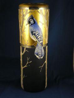 PH Leonard Austria Arts & Crafts Blue Jay Motif Vase (c.1890-1908)