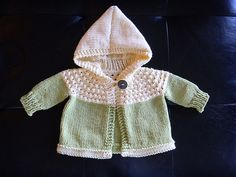 One Skein Hooded Knit Baby Sweater by Vintage - free pattern
