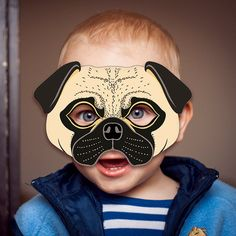 pug dog mask printable fawn carlin mops dutch bulldog mastiff puppy animal childrens halloween masks party pdf costume birthday adults kids pug art