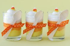 Candy Corn Cheesecake Mousse  This recipe yields a sweet and fluffy, light cream cheese flavored dessert.        1 package (8 oz.) cream cheese  1/2 cup powdered sugar  1/4 cup milk or cream  1 teaspoon vanilla  1 small container (8 oz.) Cool Whip, thawed      orange and yellow food color  candy corn (for garnish) Halloween Fun, Halloween Mason Jars, Holidays Halloween, Halloween Tricks, Halloween Birthday, Halloween Horror, Halloween Projects, Winter Holidays, Happy Holidays