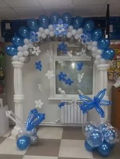 Blue and White Balloon Arch with Balloon Flowers Balloons And More, Colourful Balloons, White Balloons, Blue Ballons, Balloon Columns, Balloon Arch, Balloon Garland, Balloon Ideas, Love Balloon