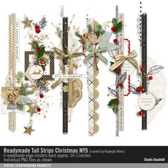 Readymade Tall Strips: Christmas No. 05 seasons finest clustered strips of scrap