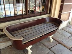 Old Bathtub Bench Bathtub Bench, Old Bathtub, Clawfoot Tub Faucet, Bathtub Ideas, Mini Bathtub, Garden Bathtub, Vintage Bathtub, Bathtub Tray, Repurposed Furniture
