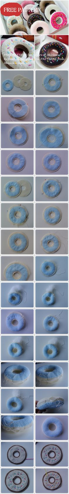 Free Pattern for buyers - Felt Ducan Donut Mehr Felt Diy, Felt Crafts, Fabric Crafts, Sewing Toys, Sewing Crafts, Sewing Projects, Felt Food Patterns, Sewing Patterns, Diy For Kids