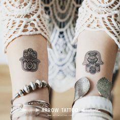 Boho Tattoo fatima hamsa Hand patroon Tattoo door ArrowTattoo