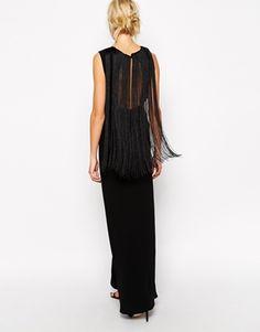 Vergrößern ASOS – Langes T-Shirt-Kleid mit Fransenrücken
