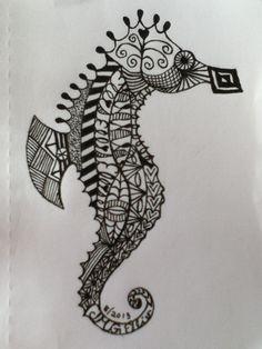 My zentangle/doodle seahorse (JMGEllis) http://www.pinterest.com/nanniejoyjmge/my-zendoodle-art-jmgellis/