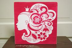 Wood sign: Princess with flowers in her hair | Vinyl home decor, shabby chic distressed design, beauty, hair salon