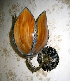 Victorian wall sconce, slag glass, tulip shade