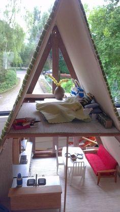 Very cool homemade modern A-frame dollhouse.