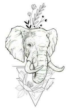 Tattoos And Body Art tattoo stencils Elephant Tatoo, Elephant Tattoo Design, Elephant Art, Elephant Design, Pencil Art Drawings, Art Drawings Sketches, Tattoo Drawings, Animal Sketches, Animal Drawings