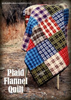 plaid flannel quilt. This is an easy to sew quilt and is perfect for picnics, ballgames, camping...or even to put on a bed! Flannel Quilts, Plaid Quilt, Plaid Flannel, Denim Quilts, Flannel Blanket, Flannel Shirt, Quilting For Beginners, Quilting Tutorials, Quilting Ideas